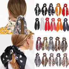 New 2019 Leopard Snake Floral Dot Streamers Scrunchies Women Hair Scarf Elastic Bow Hair Rope Ribbon Band Girls Hair Accessories(China)