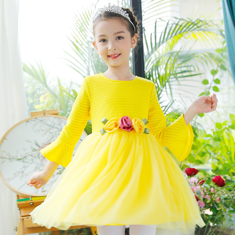 Fancy Flower Kids Girl Princess Dress Birthday Party Pageant Formal Dress Prom Little Girl Christening Bow Long Sleeve Vestido marfoli girl princess dress birthday
