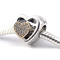 Joined Together Heart Charms Fits Pandora Snake Bracelets 925 Sterling Silver Europe Beads DIY Jewelry Making for Women Berloque