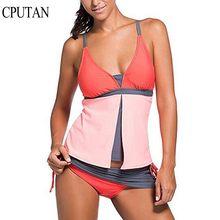 цена на Plus Size 2019 New Tankini Set Women Vintage Swimwear Bathing Suit Sport Plus Size Tankini Swimsuit Lady Beach Wear Bodysuit 3XL