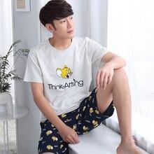 Nachtwäsche baumwolle nightgown männlichen sommer 100% kurzhülse kurzschlüsse dünne männer pyjamas cartoon sommer plus größe lounge-set