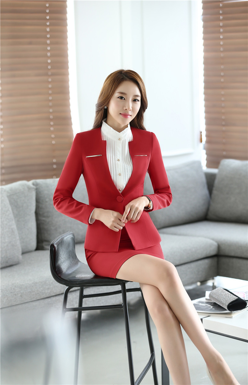 e75384932b Plus Size 4XL Professional Office Work Wear Suits With Jackets And Skirt  Autumn Winter Long Sleeve Business Suit Blazers Outfits في Plus Size 4XL ...