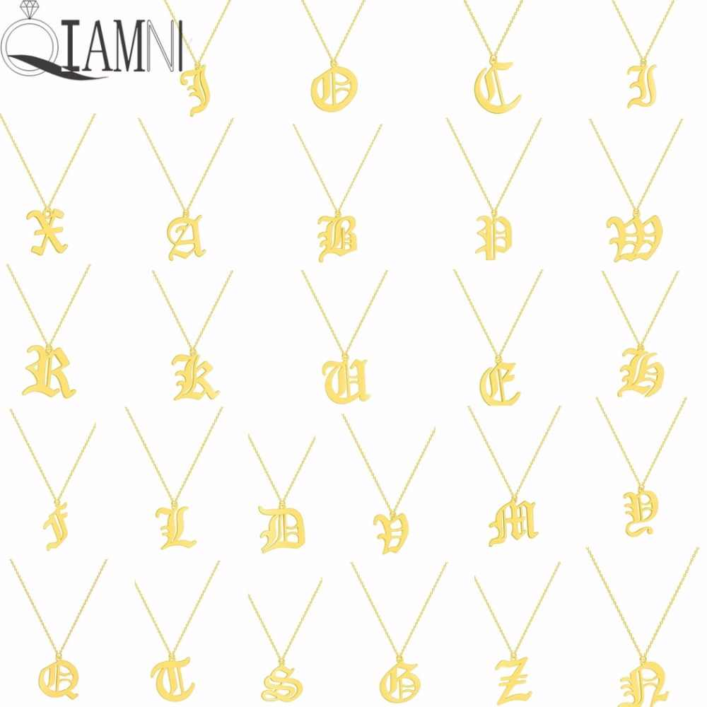 QIAMNI Old English Alphabet 26 A-Z Letter Pendant Necklace for Women Stainless Steel Capital Initial Necklace Birthday Gift