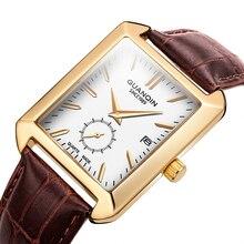 Часы наручные мужские прямоугольные, брендовые Роскошные спортивные Кварцевые водонепроницаемые с кожаным ремешком