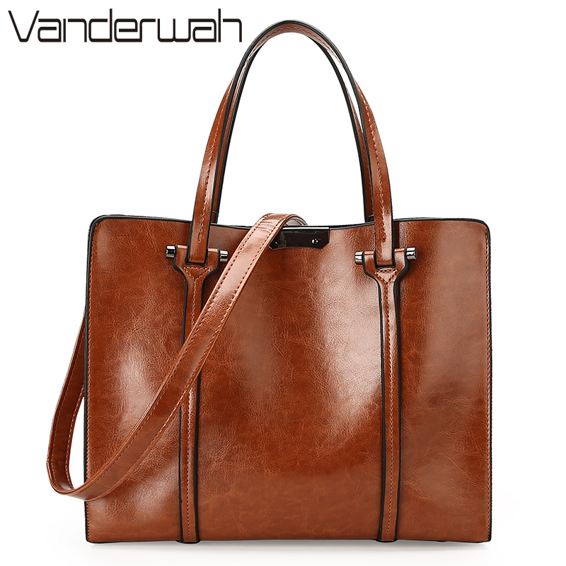 VANDERWAH Fashion Women Handbag PU Oil Skin Leather Women Bag Large Capacity Tote Bag Big Ladies Shoulder Bags Famous Brand sac