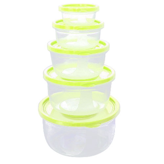 5Pcs Plastic Food Storage Containers Fresh Refrigerator Seal Box Round Green ...
