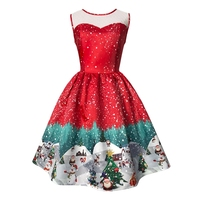 Himanjie Women New Christmas Pattern Vintage Dresses Sleeveless Floral Print High Waist Retro Dress Female Vestidos