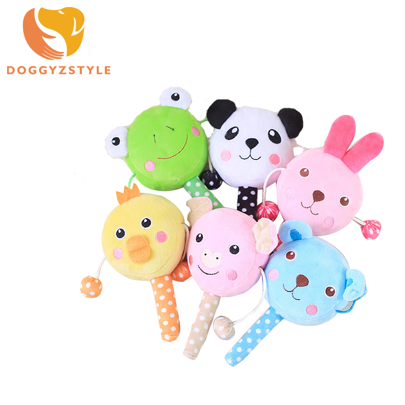 Pet Sound Toys Cartoon Plush Dog Chew Squeaker Squeaky Rattle Cute Animals Toy For Small Puppy Dogs DOGGYZSTYLE