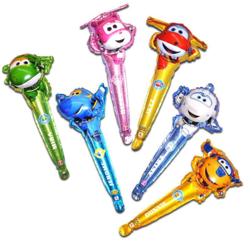 60*25CM Super Wings handheld foil Balloon SuperWings stick balloons Children Birthday Party decorations kids toys Jett globos