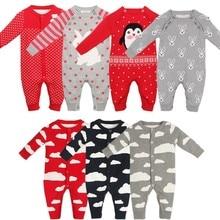 Новинка; осенний вязаный детский комбинезон; хлопковая одежда с изображением мультяшного пингвина; Одежда для новорожденных мальчиков и девочек; винтажный комбинезон; Roupas
