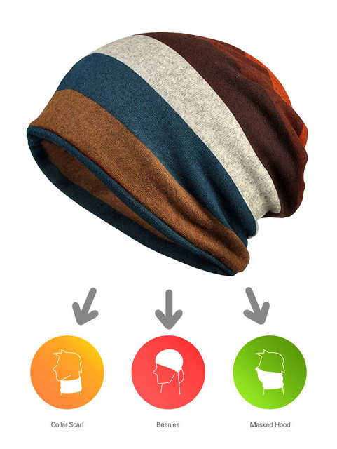 Striped Beanie Scarf – More Colors