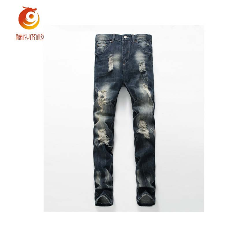 2017 Spring Mens Jeans Hole Casual Ripped Jeans Men Hiphop Destroyed Denim Pants Straight Jeans for Men Denim Trousers Jeans