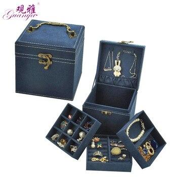 Novo Padrão de Estilo Coreano Edição De Flanela Veado Cabelo Do Coelho de Três Camadas Caixa do Anel Caixa de Jóias Embalagens Sem Espelho