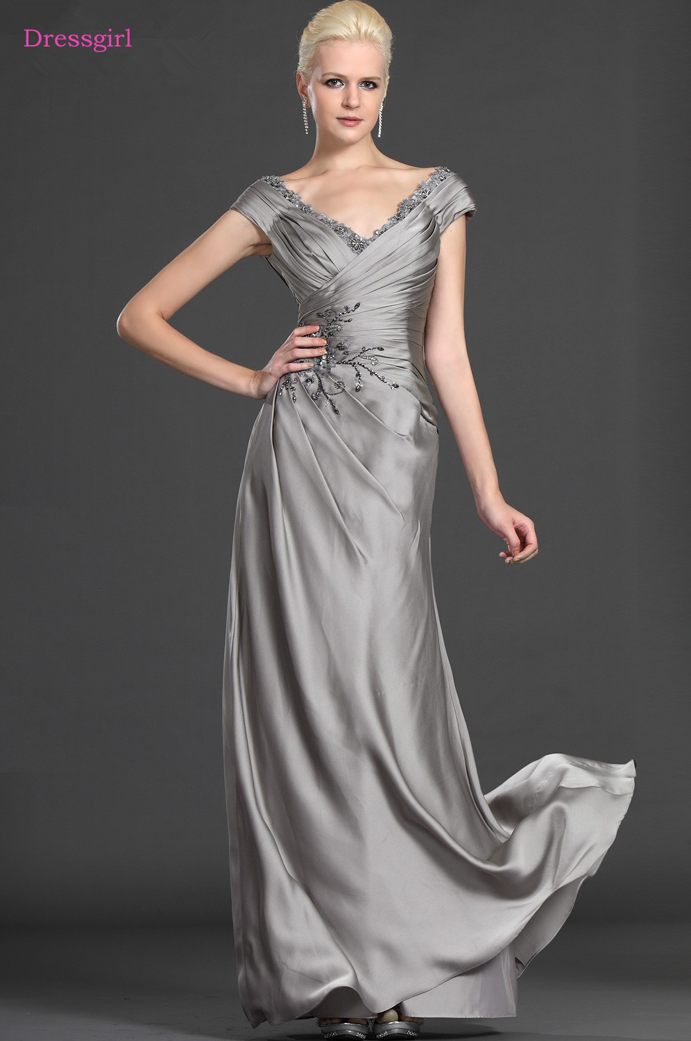 Gray 2019 Mother Of The Bride Dresses A-line V-neck Cap Sleeves Chiffon Beaded Long Elegant Groom Mother Dresses Wedding