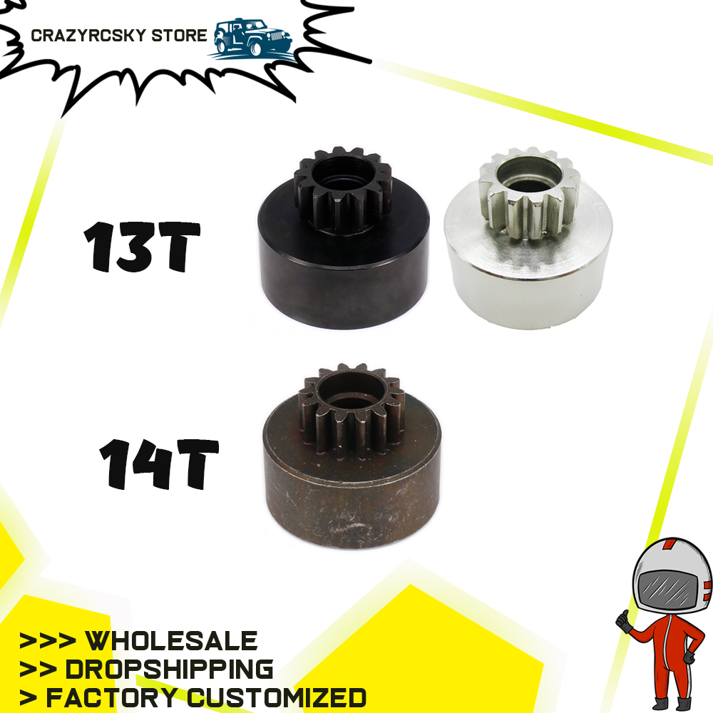 RCAWD 1pc 13T/14T <font><b>13</b></font> 14 Tooth Teeth Clutch Bell Gear for 1/<font><b>8</b></font> RC Hobby Model Car HPI HSP Traxxas Axial Kyosho Redcat Himoto image