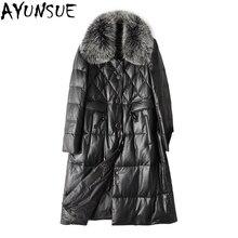 Женская зимняя куртка из натуральной кожи, 90% белый утиный пух, пальто из овчины для женщин, воротник из натурального Лисьего меха, chaqueta mujer