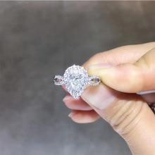 купить ANI 18K White Gold (AU750) Wedding Ring 0.773 CT GIA Certified H/VS1 Pear Cut Natural Diamond Women Halo Engagement Ring дешево