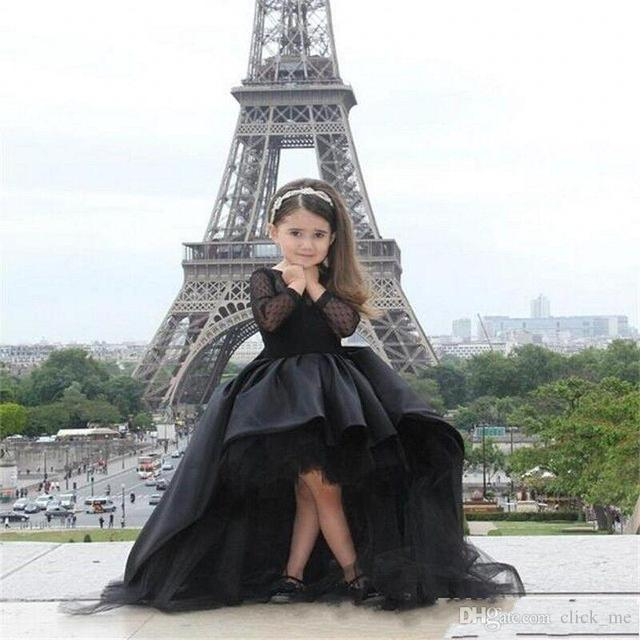2016 Hot Mother Daughter Dress For Weddings with Ball Gown Sleeves Black Long Flower Girl Dresses Ruffles Tiered Vestidos De Com