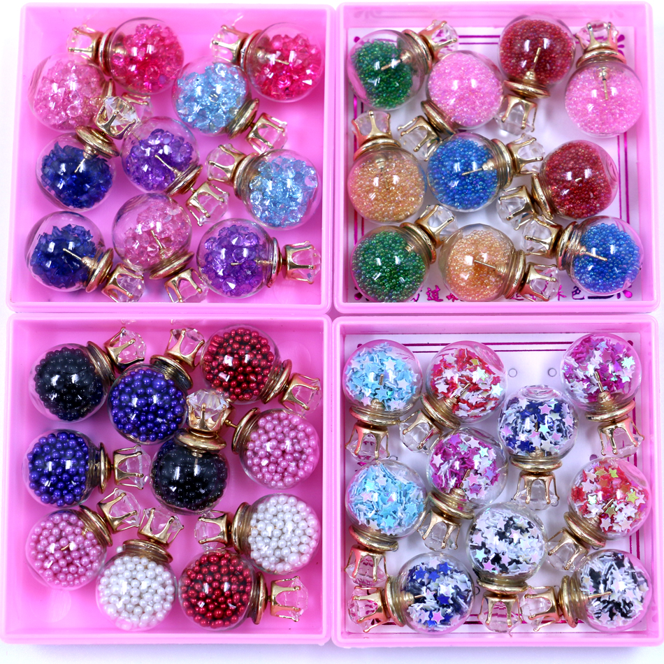 Free Shipping Glass Ball Crystal Double Faced Big And Small Stud Earrings Filled With Shining Rhinestone Small Beads 5pairs/lot