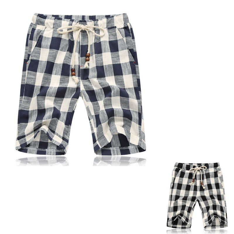 Summer New Men's Cotton Casual Pants Large Yards Of Thin Plaid Five Pants Men Loose Loose Thin Beach Pants Plus LB