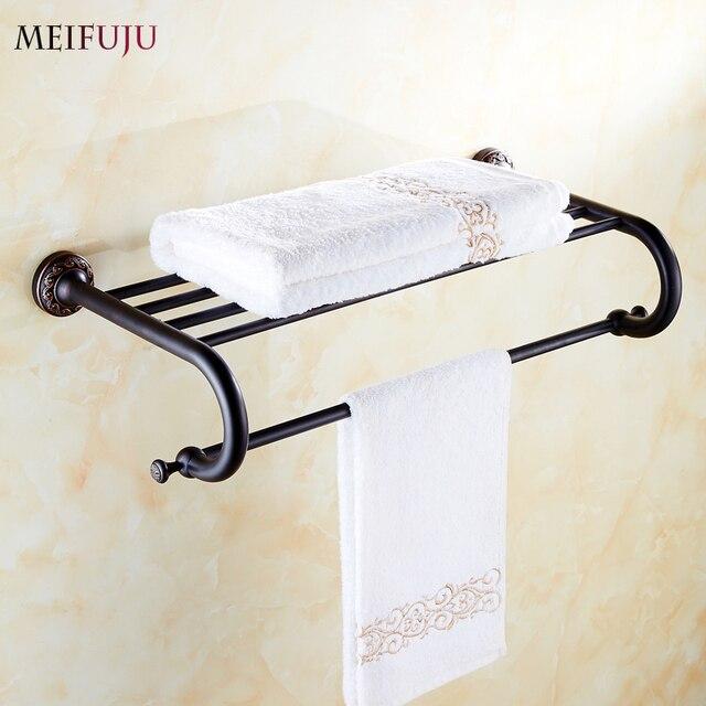 Bath Towel Holder For Wall Part - 32: High Quality Bathroom Towel Holder Shelf Copper Hotel Fixed Bath Towel Racks  Bar Vintage Retro Single