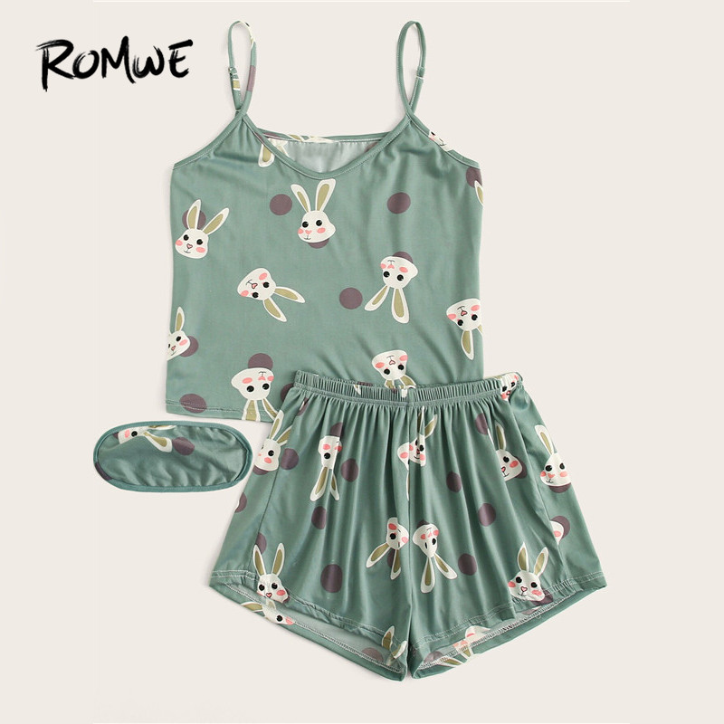 ROMWE Women Cute Rabbit Print Polka Dot Cami PJ Set With Eye Mask Summer Spaghetti Strap Tops And Elastic Waist Shorts Sleepwear