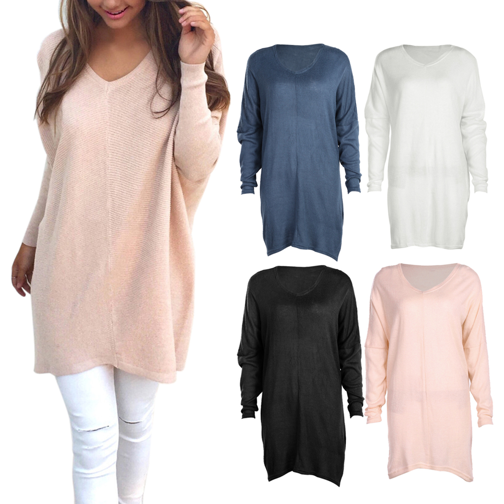 Thin Knitted V neck Solid Base Sweater Women Fashion Oversized ...