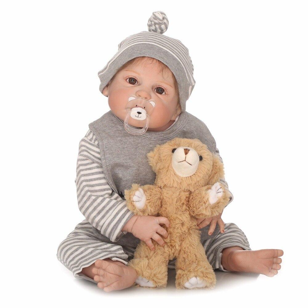 55 cm cuerpo completo silicona Reborn bebé niño 22 pulgadas vinilo recién nacido bebé muñecas lindo Regalo de Cumpleaños impermeable baño juguete el crecimiento socio