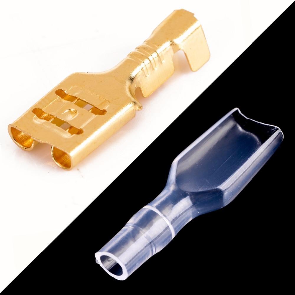 100pcs 2.8mm Crimp Terminal Female Spade Connector 22-16AWG w// Insulating Sle EC