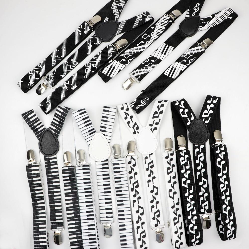 Music Man Belt Men Woman Men's Suspenders Bright Clip-on Y-Back Braces Elastic Women Adjustable Piano Note