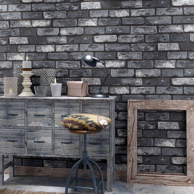 US $33.59 16% OFF|Vintage 3D Wallpaper Brick Home Decor Grey Red Bedroom  Dinning Living Room Wall Covering Modern Waterproof 3D Wall Papers Roll-in  ...