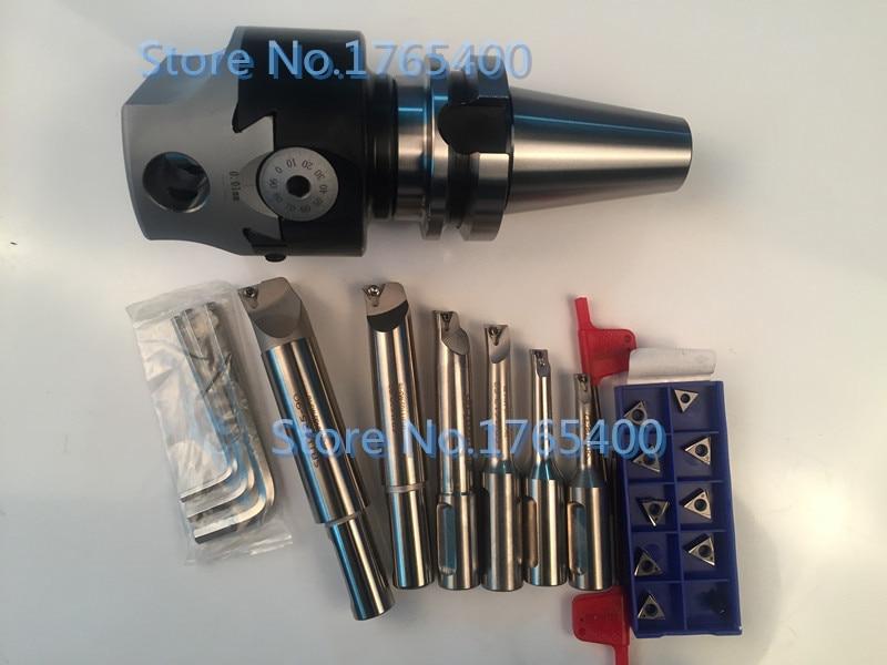 New BT40 M16 arbor F1 -12 50mm boring head & shank 12mm 6pcs borng bar & 10pcs carbide inserts