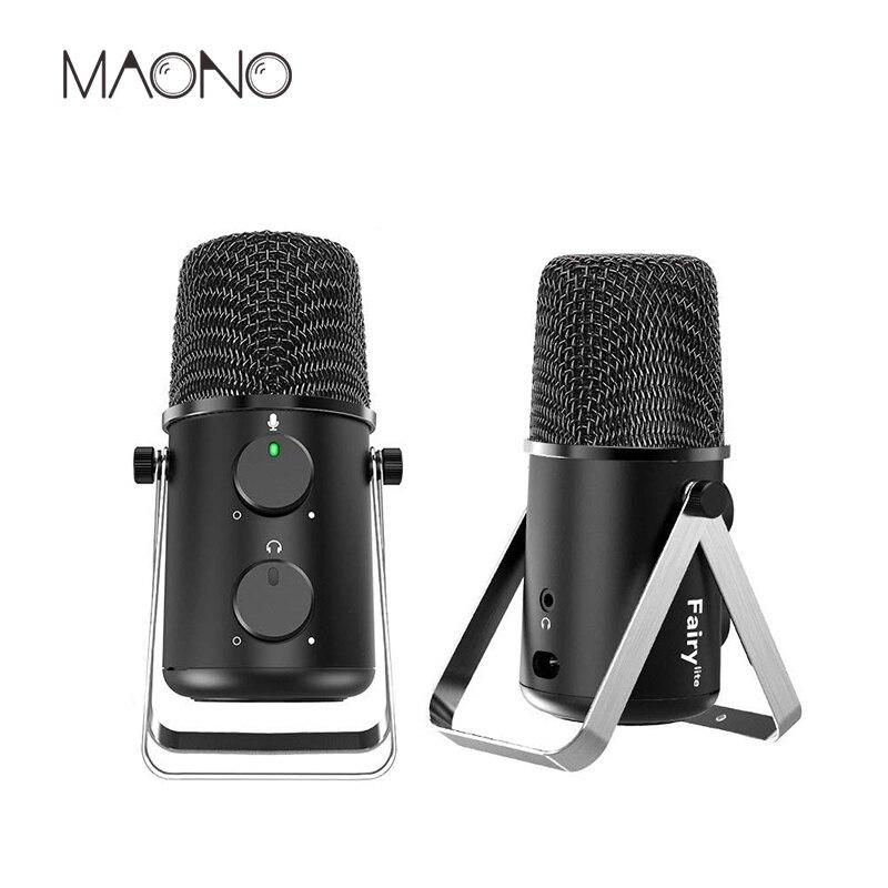 MAONO USB микрофон кардиоидный конденсаторный микрофон эхо регулятор громкости шаблон Регулируемый микрофон для Youtube Подкаст игровой