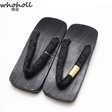 WHOHOLL Japanese Clogs Black Paint Wooden Geta Man Flip-flops Cospaly Costumes Kimono Shoes for Men paulownia wooden Slippers