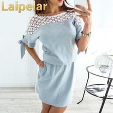 Laipelar Summer Dress 2018 Women New Fashion Casual Style Lace Splicing Short Elegant Vintage Party Dresses Vestidos