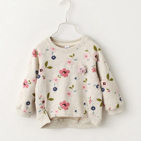 2017 autumn spring Children Girl Sweatshirts clothing Baby school girl Floral blouses clothes flower kids clothes Tops Shirt