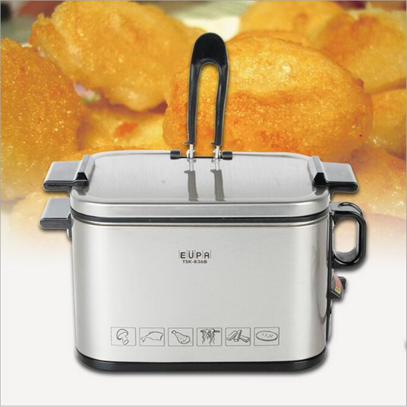 220V Single Cylinder Electric Fryer Stainless Steel French Fries Machine Household Multifunction Electric Cooker Kitchen Tool konka microcomputer intelligent control air fryer 2 5l smokeless electric air fryer french fries machine non stick fryer 220v eu
