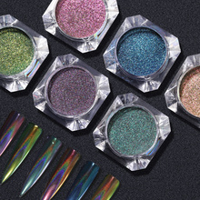 PinPai Holographic Laser Powder Rainbow Nail Art Glitter Chameleon Chrome Pigment Manicure Gel Polish Dust