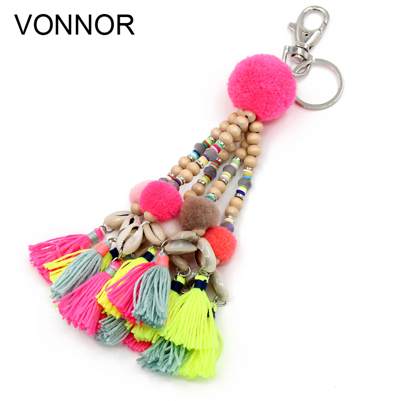 цена VONNOR Handmade jewelry Keychain Shells Tassel Pendant Charm Key Chains Bohemian Accessories Gift for Women Girl в интернет-магазинах
