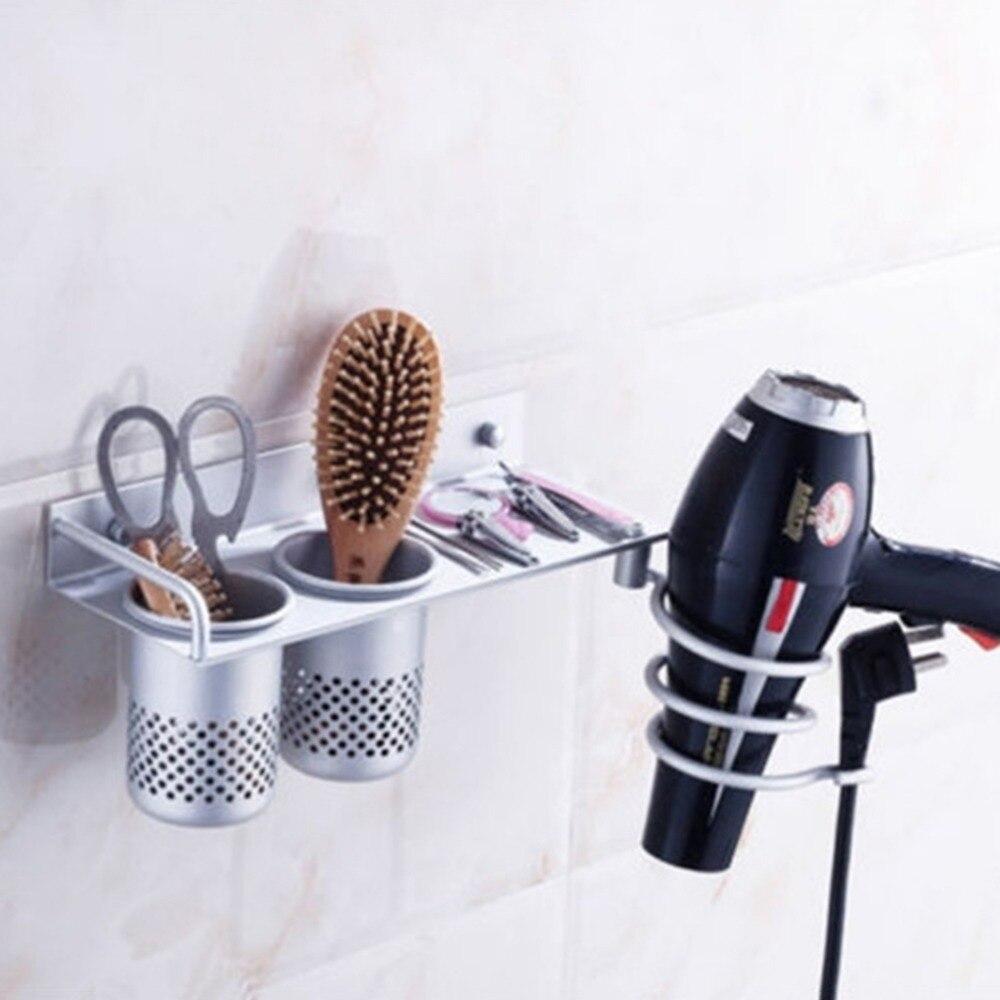 Rangement Pour Seche Cheveux €13.92 31% de réduction|multi fonction peigne support espace aluminium  étagère rangement organisateur sèche cheveux support en spirale salle de  bain