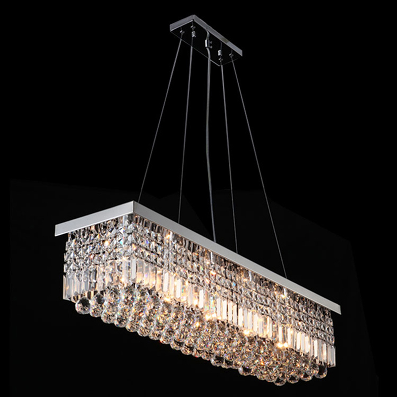 Rectangle LED Crystal Pendant Light Modern Hanging Lamps Fixtures for Dining Room VALLKIN LIGHTING modern led crystal brief dining room pendant light rectangle pendant light bar