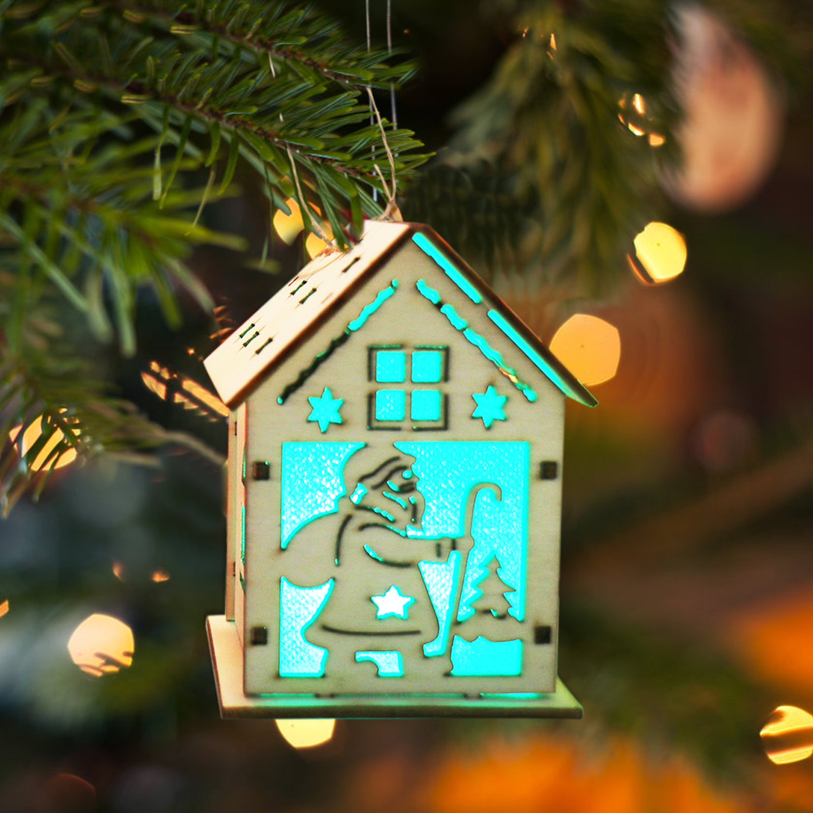 aliexpresscom buy 1pc christmas festival led light wood house christmas tree hanging ornaments holiday xmas gift wedding decoration gifts from reliable - House Christmas Ornament
