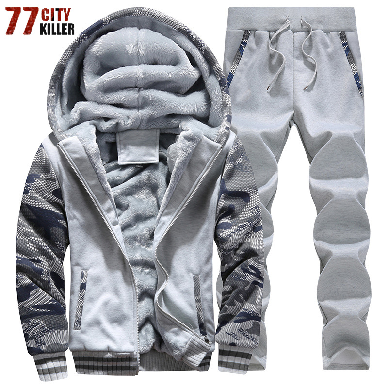 Tracksuit Men Sporting Fleece Thick Hooded Men Jacket+Pant Warm Fur Inside Winter Sweatshirt Men's Clothing Set Plus Size M-4XL
