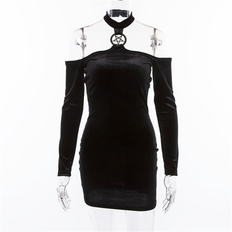 Summer Velvet Dress Women Retro Harajuku Sexy Black Long Sleeve Halter Dress 2