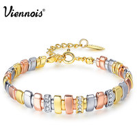 Viennois New Gold Silver Rose Gold Plated Bracelets For Women Rhinestone Mixed Color Metallic Chain Bracelets