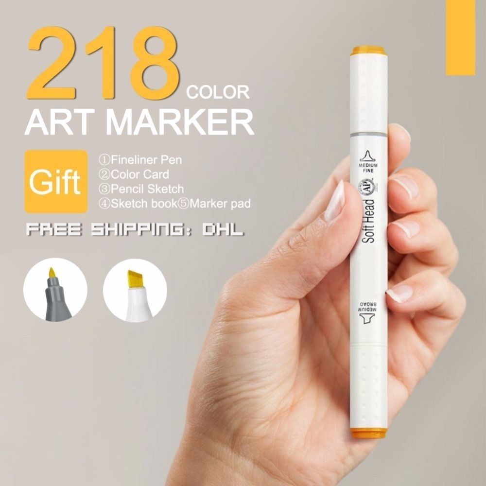 Bianyo 60/80/218Color Dual Tip Office Working Sketch fine Markers Set, School Drawing Art Material Watercolor Marker Pen Design sketch marker pen 218 colors dual head sketch markers set for school student drawing posters design art supplies