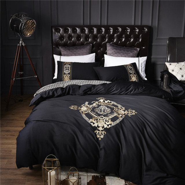 60S Egyptian Cotton Tribute Silk Luxury Royal Bedding Set 4Pcs King Queen  Size Black Bed Sheet