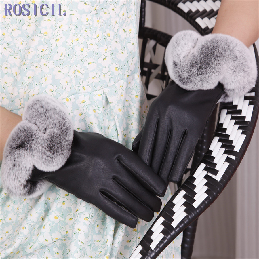 Ladies leather gloves wool lined - Rosicil Warm Winter Women Leather Gloves For Women Ladies Black Leather Gloves Female Fleece Lined Mittens