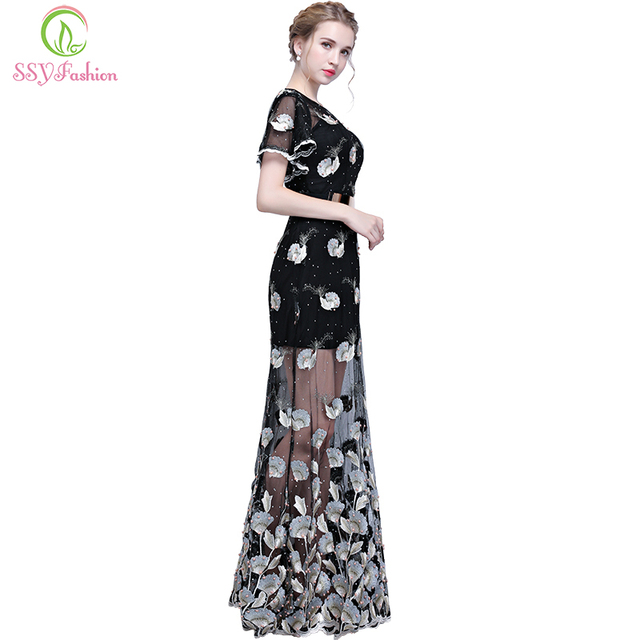 SSYFashion New Black Evening Dress The Banquet Elegant Lace Embroidery  Straight Long Party Formal Gown Custom Robe De Soiree 21556a078d53