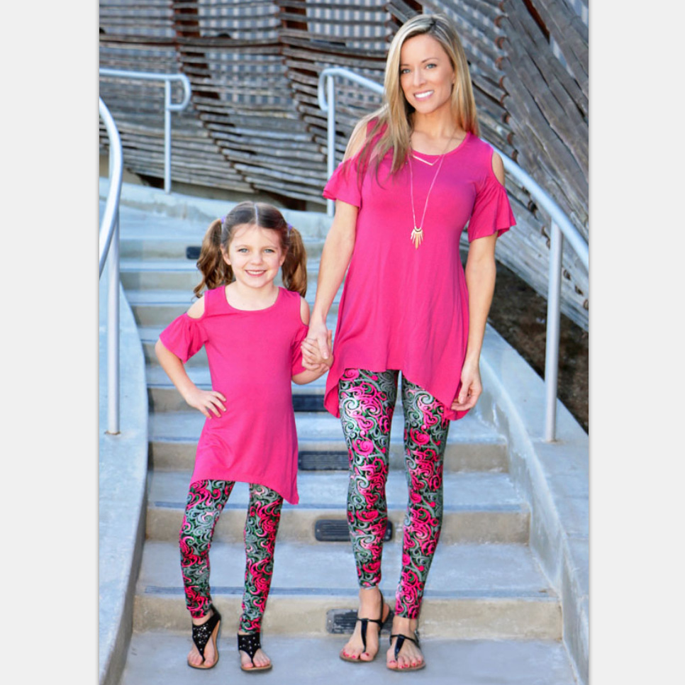 Irregular Tops+Print Leggings Family Set Mother Daughter ...